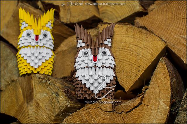 "432. Sówki ""pohukówki"" / 3d origami cute owls"