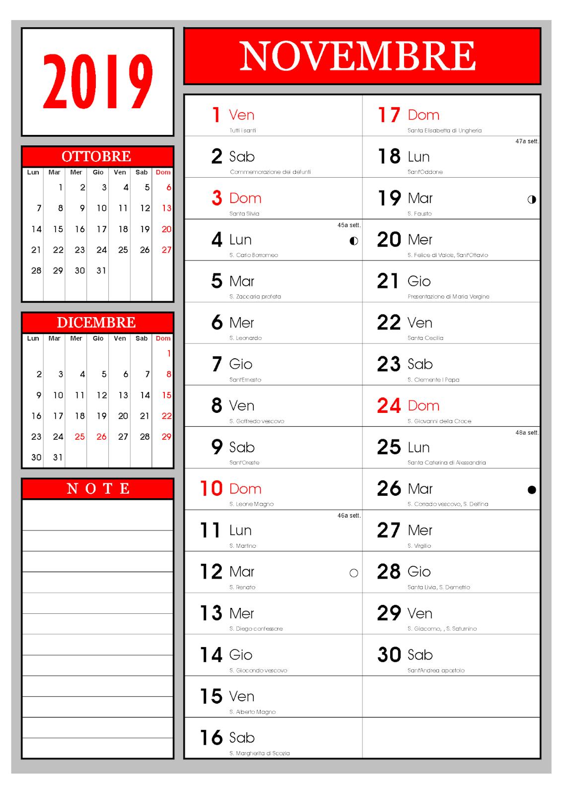 Calendario Calendario Mensile Novembre 2019