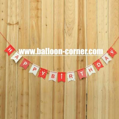 Bunting Flag Segilima HAPPY BIRTHDAY Warna Merah