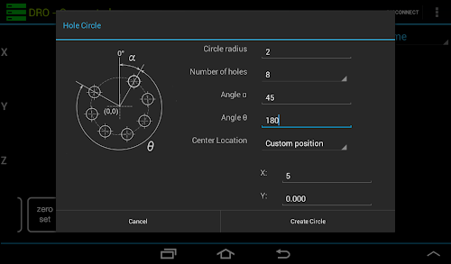 Hole circle/arch function dialog ready to create a set of holes