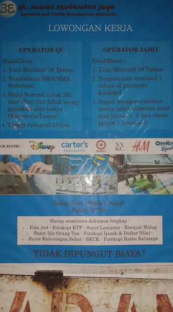 Loker Cimahi PT. Sansan Saudaratex Jaya