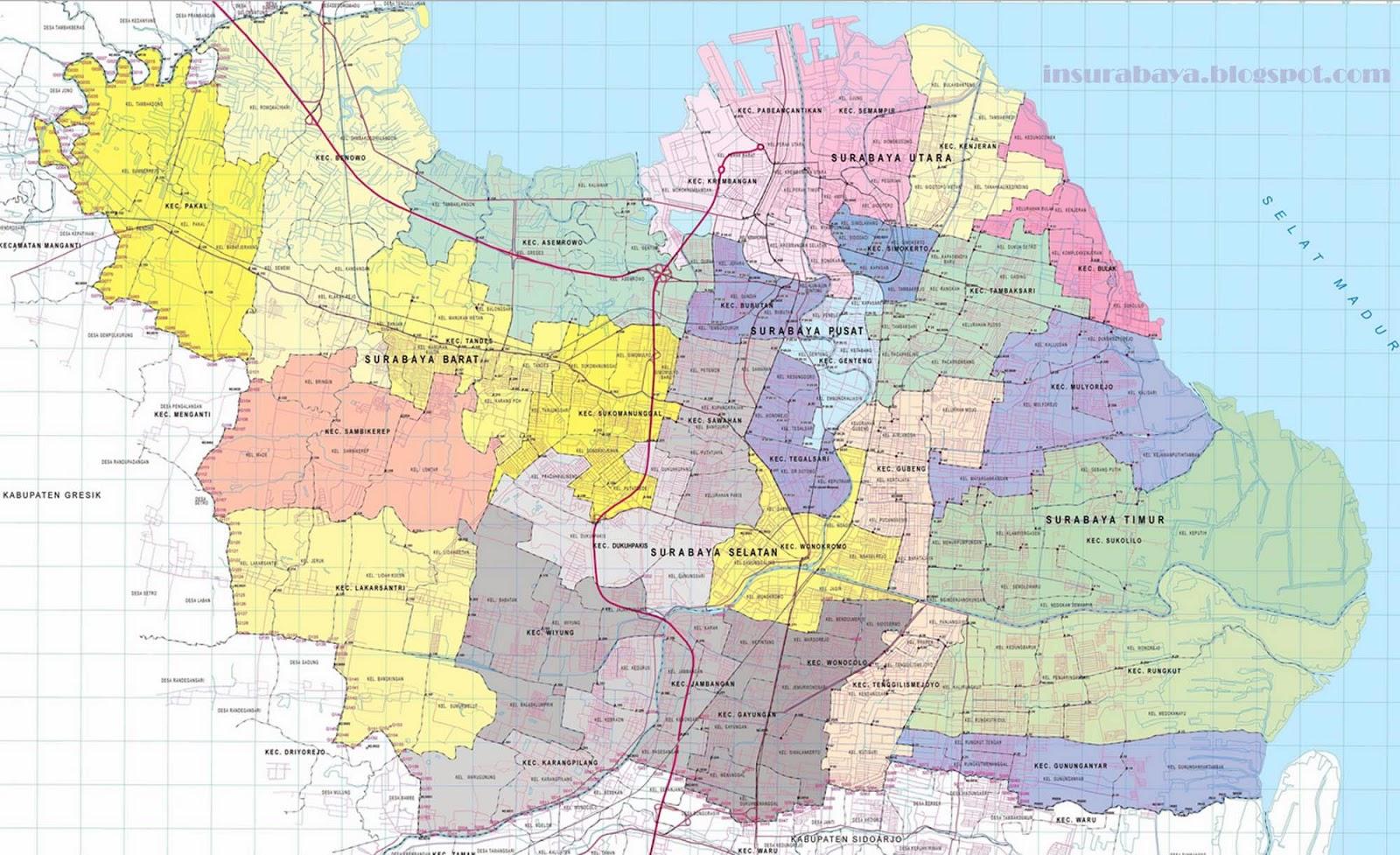 Peta Surabaya   Lengkap Terbaru ~ Info Surabaya
