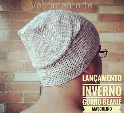 Gorro Beanie Masculino de Crochê (Touca caidinha): receita de criação própria