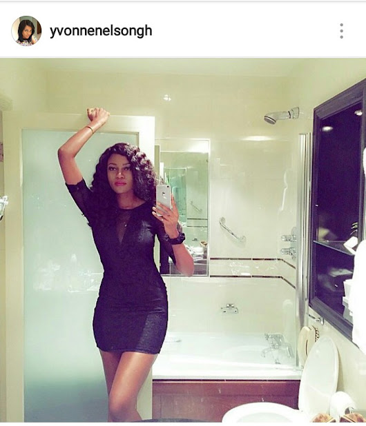 Yvonne Nelson Takes a Picture in the bathroom with the toilet bowl open ...oops!