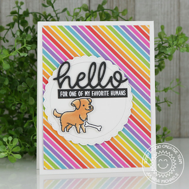 Sunny Studio Stamps: Devoted Doggies Fancy Frames Rainbow Background Hello Card by Juliana Michaels