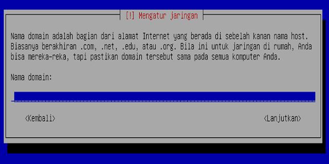 Instalasi Debian - Memberi nama domain