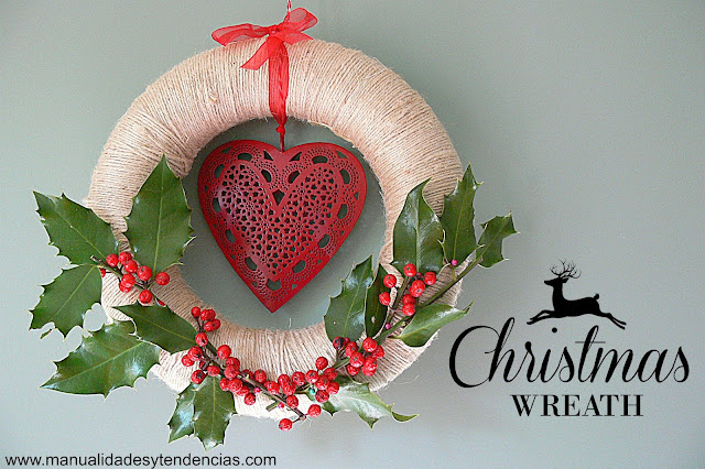 Handmade holly wreath for Christmas