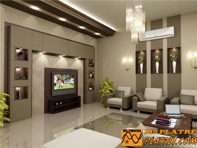 Faux plafond simple et placard  de Tv en plater