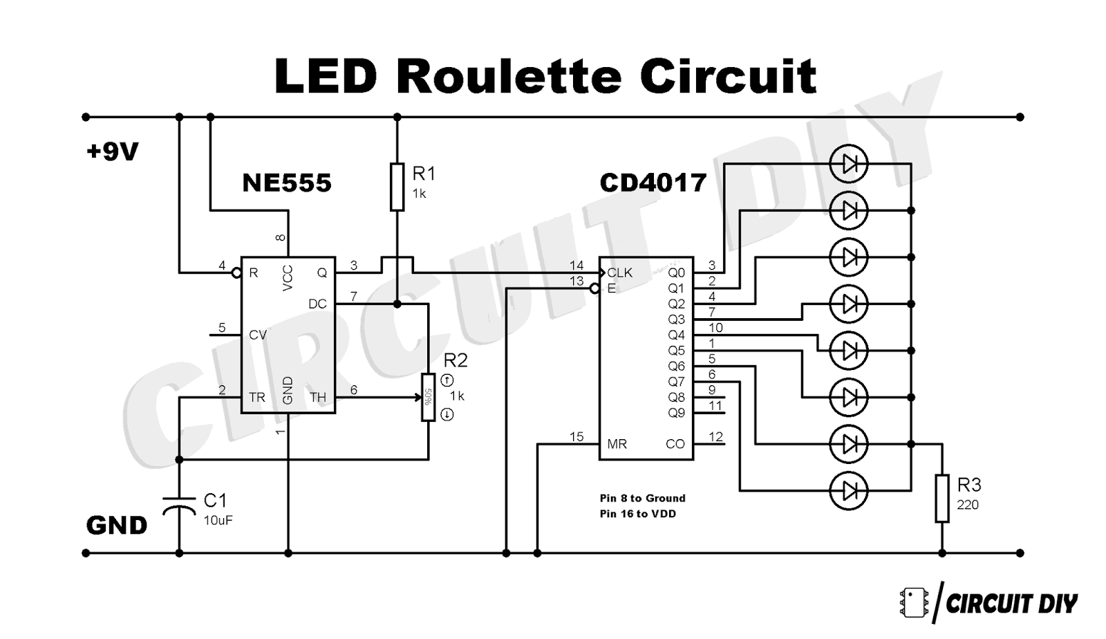 Led Roulette Circuit Diy How To Make Mp3 Player At Home Chaser Using 555 Timer Cd4017 Decade Counter Ic 4017