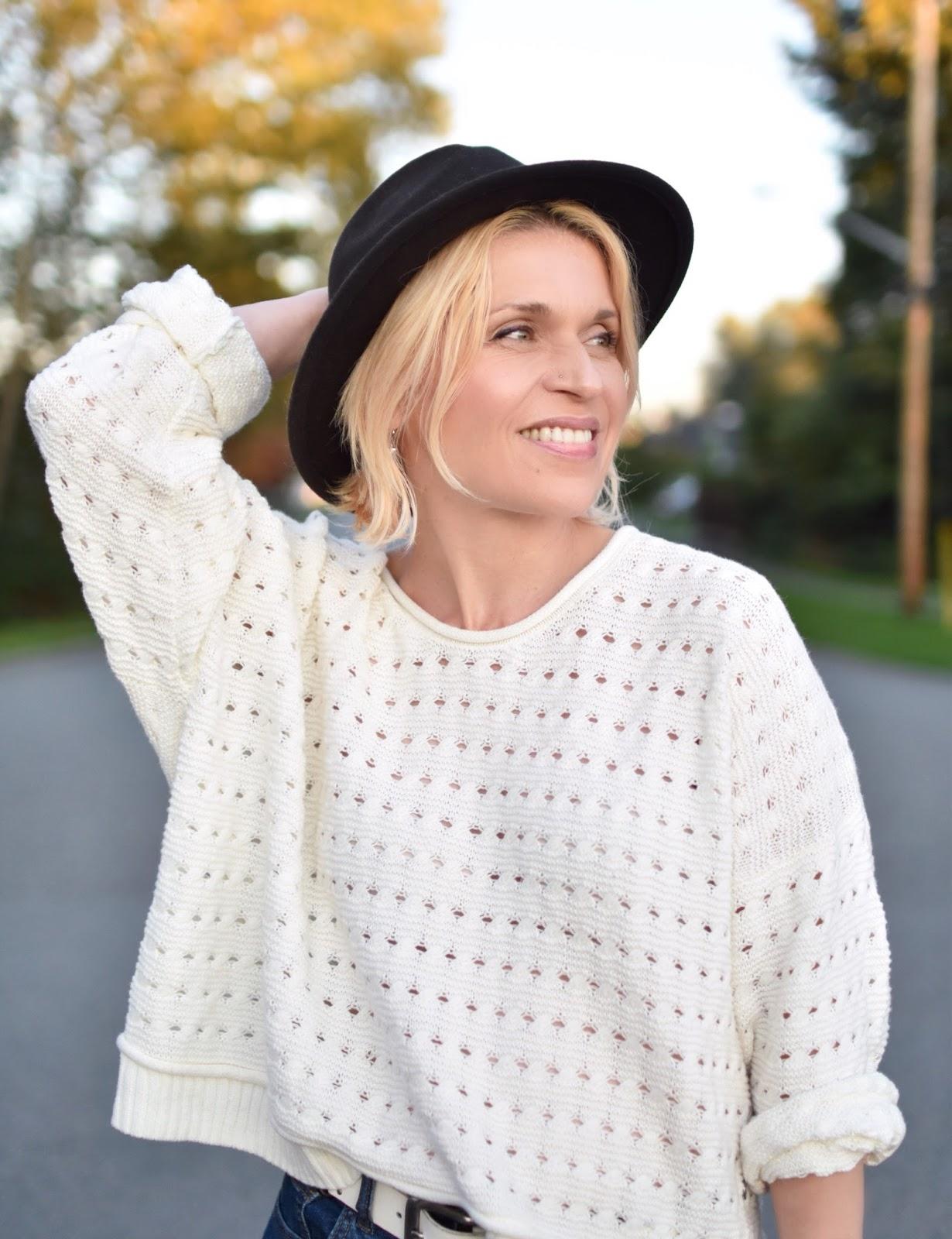 Outfit inspiration c/o Monika Faulkner - white sweater, felt fedora