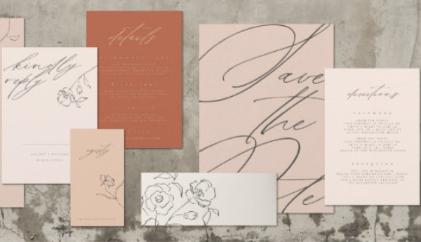 Single bloom script minimalist wedding invitations