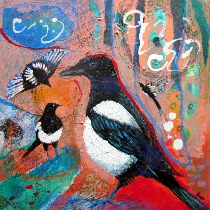 mixed media painting, bird art, painting for sale, magpie, mixed media collage art, black white red painting,