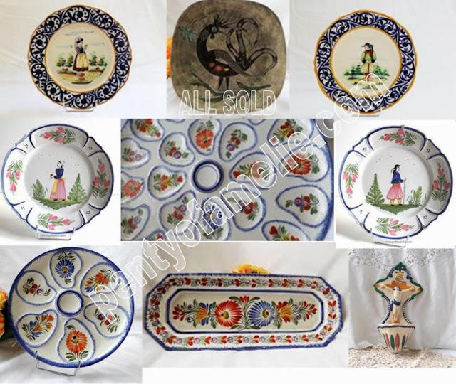 Vintage Breton Quimper Pottery Marks. Authentic Quimper Wares signed Henriot HB, local artist from Henriot Faiencerie Brittany France