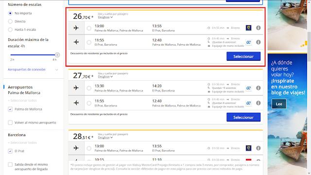 Captura de pantalla con el precio ofrecido por eDreams gracias al descuento por método de pago al usar la tarjeta Mastercard Viabuy prepago