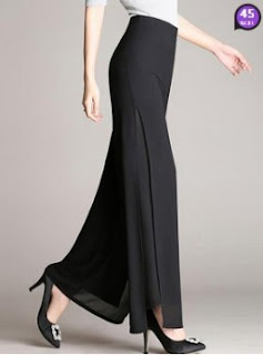 Solid Double Layer Chiffon Wide-Leg Casual Pants (Price:$ 24.01)