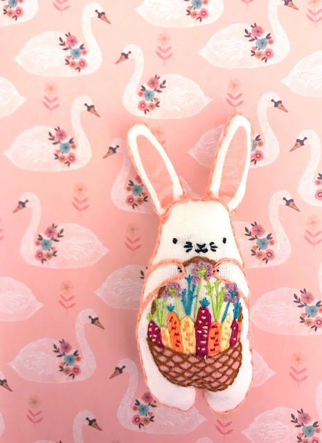 DIY Easter Bunny Embroidery Plushie Kiriki Kit - Mollie Makes Issue 90