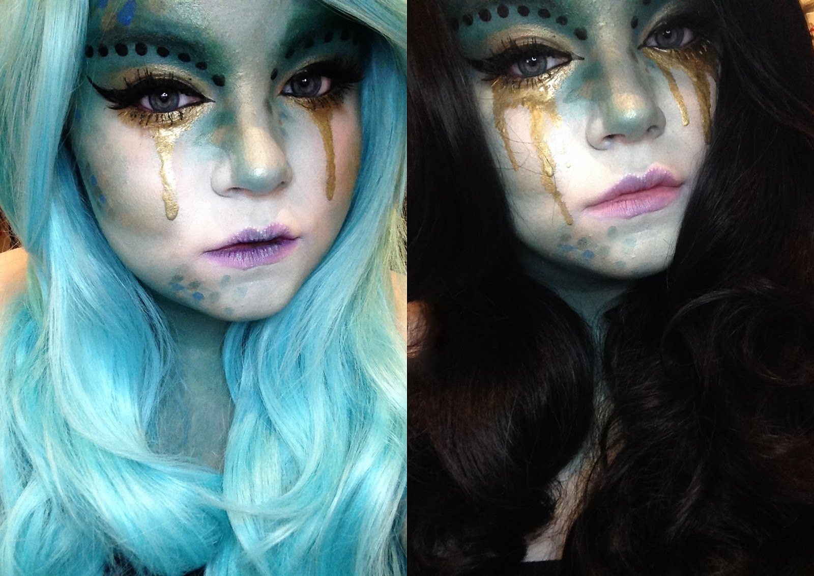Evil mermaid make up look