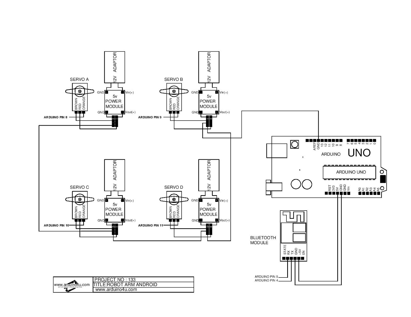 Projek Elektronik Arduino4u 133 Android Robot Arm