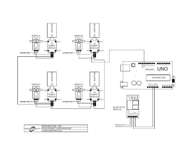 Projek Elektronik Arduino4u.com: 133-Android Robot Arm