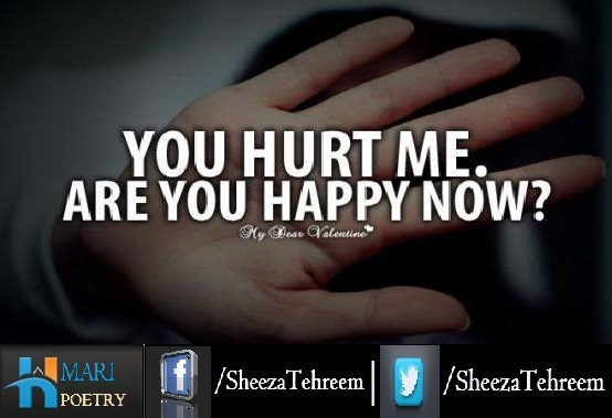You Hurt Me Are You Happy Now Urdu Poetry