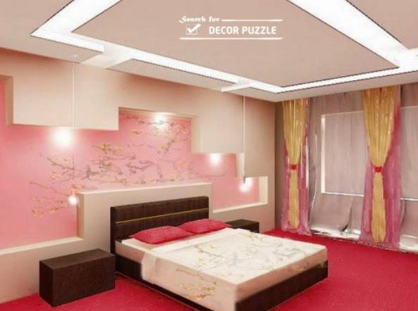 Modern pop wall designs and pop design photo catalogue 2018 for Bed wall design
