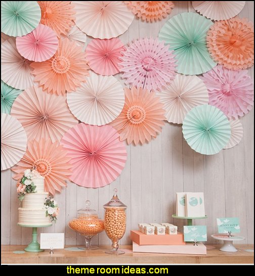 Vintage Collection Hanging Tissue Paper Fan Party Decoration