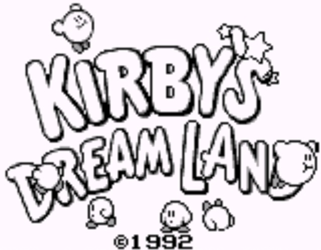 Pantalla inicial de Kirby's Dream Land, Game Boy, 1992