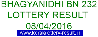Kerala lottery result, Bhagyanidhi Lottery result, Bhagyanidhi BN-232 lottery result, Today's Bhagyanidhi Lottery result, 08/04/2016 Bhagyanidhi Lottery result, Bhagyanidhi BN 232 lottery result, Bhagyanidhi BN232 lottery result.