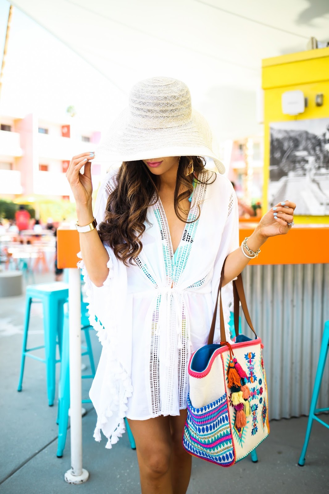 mara hoffman two piece swimsuit, YSL trapeze pink, YSL oil lipstick lipgloss, Brixxton straw hat, emily gemma, the saguaro, palm spring california, The sweetest thing blog, topshop cover up with tassels, white cover up with tassels, pinterest beach vacation outfit ideas, pinterest summer outfit ideas, pinterest swimsuit outfit ideas, steve madden beach bag, nordstrom beach bag, steve madden beytal tote, YSL tint in oil lipgloss review, valentino sandals rockstud nude, valentino sandals nude dupes, valentino sandals look a likes, rebecca minkoff sandals
