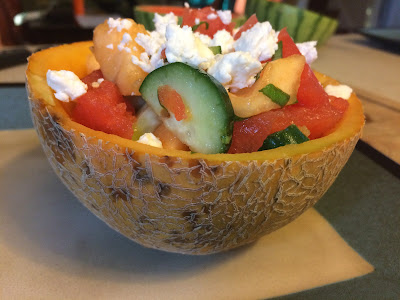 cucumber melon salad in cantaloupe shell