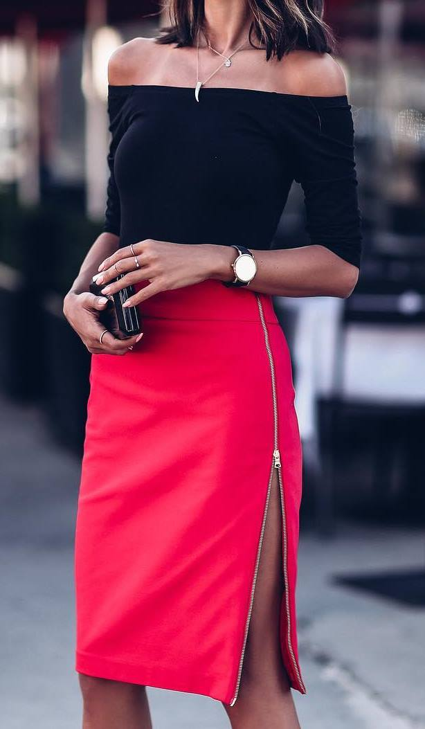 office style outfit: top + red skirt