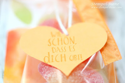 Stampin' Up Pfirsich Pur; Gastgeschenke mit Haribo Pfirsichen; Teambastelnachmittag; Team Stempel-Biene; Stampin' Up Workshop; Stempel-Biene
