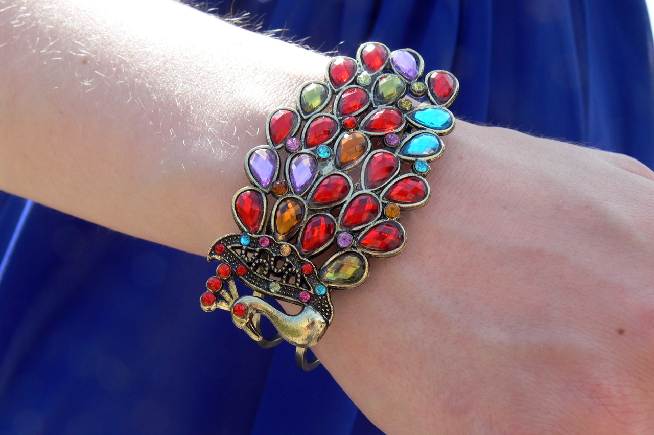 Bohemian and Gorgeous Style Peacock Shape Colored Rhinestone Bracelets Rosewholesale