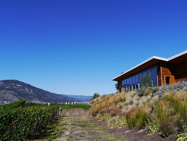 Exterior of the Vanilla Pod Restaurant at Poplar Grove Winery in Naramata Bench, Okanagan, BC wine country