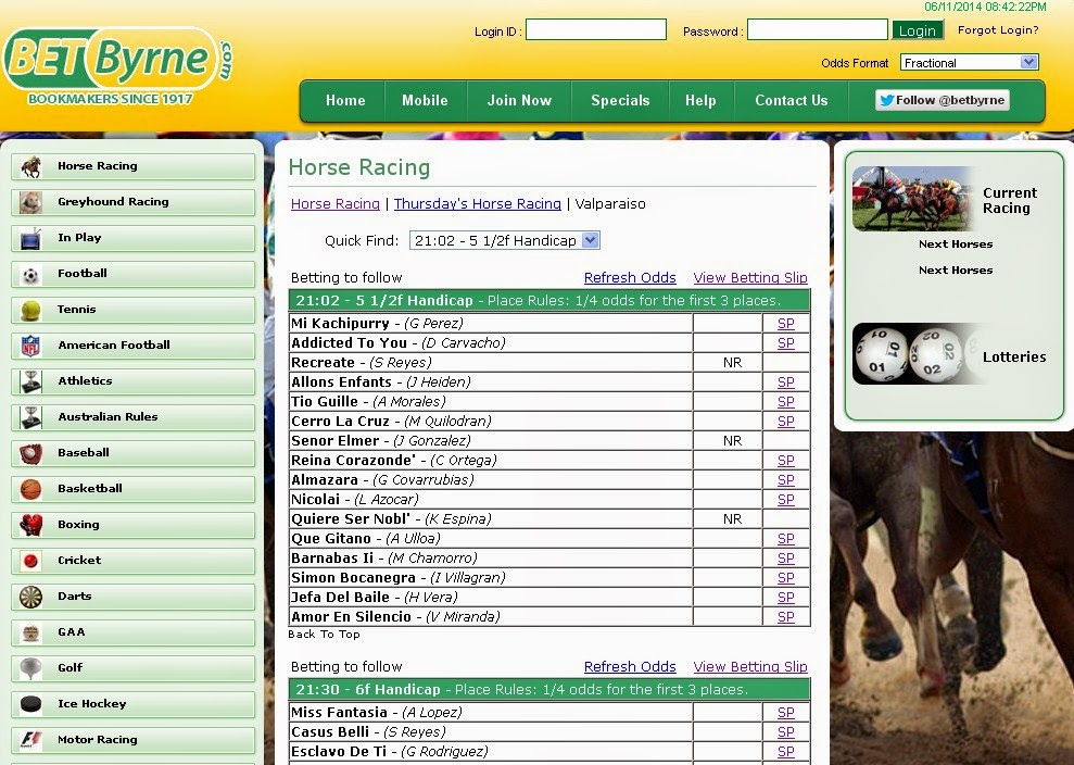 BetByrne Horse Racing Screen