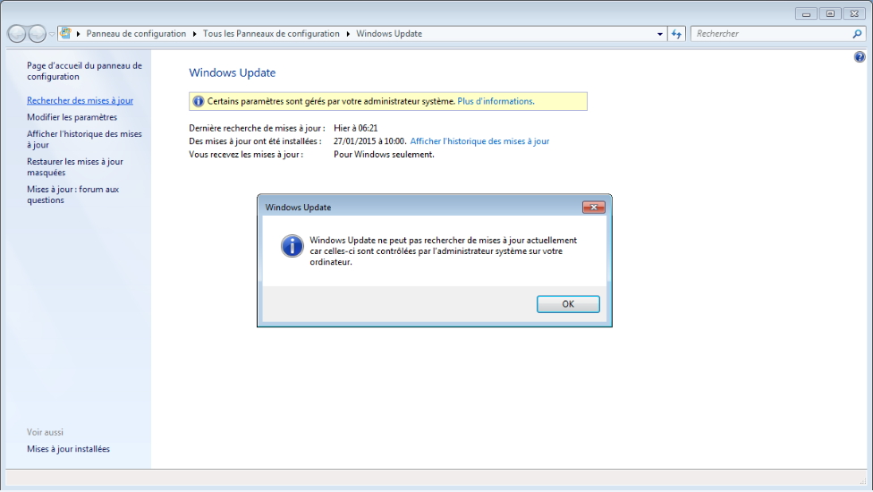 windows update ne peut pas actuellement rechercher de mise à jour car le service