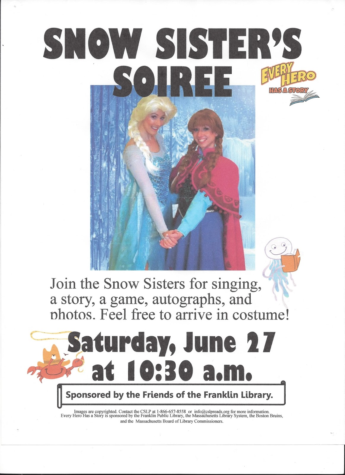 Snow Sister's Soiree - Franklin Library - 6/27 - 10:30 AM