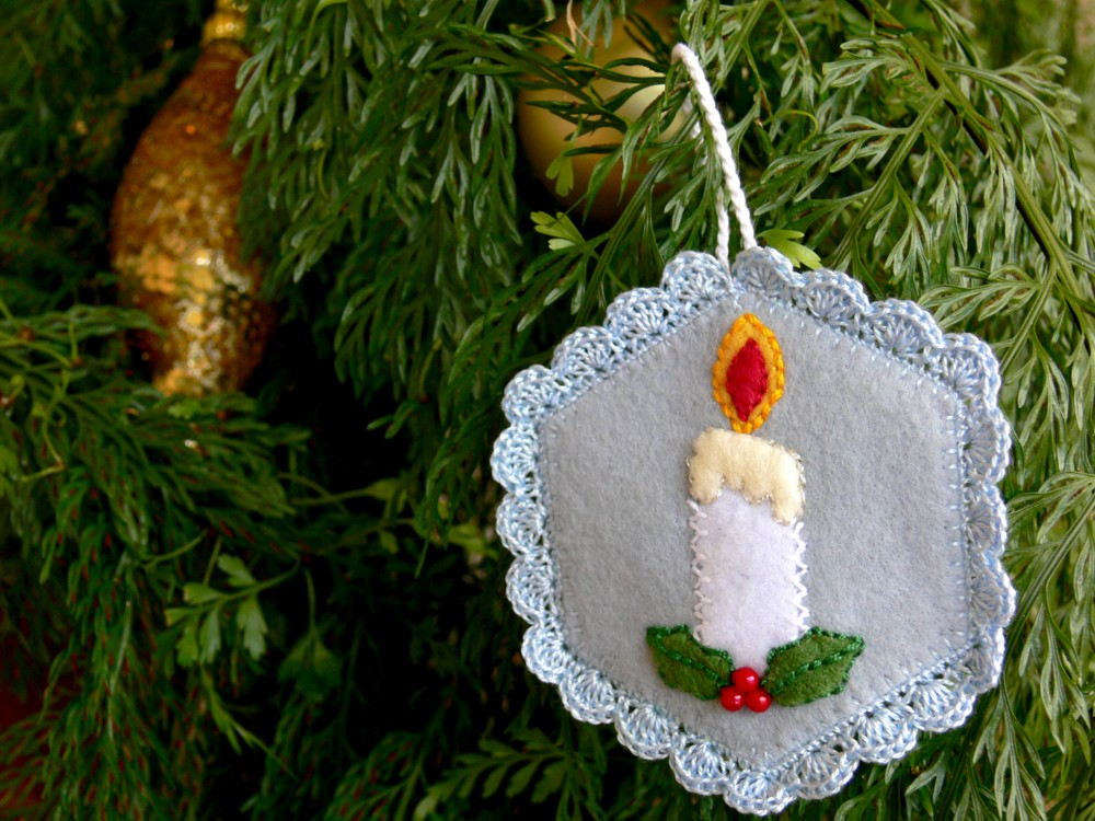 Val laird designs journey of a stitcher candle for Christmas candles and ornaments
