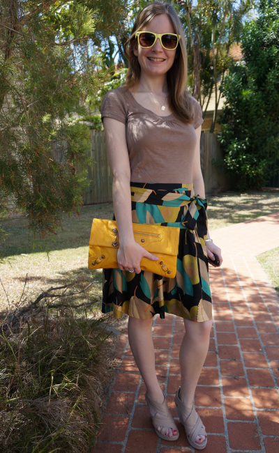 Taupe tee, french connection silk leaf print skirt with tie at waist