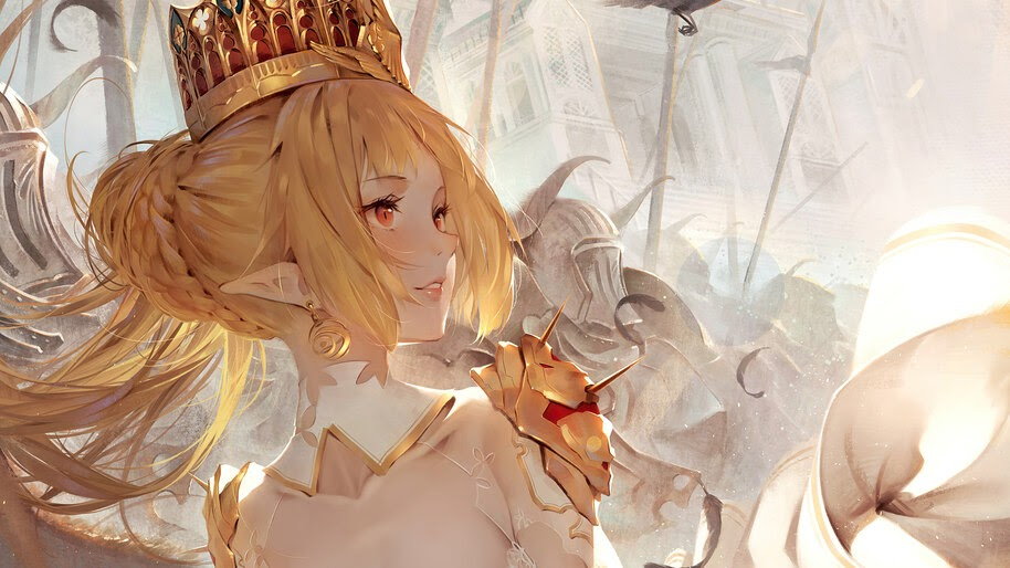 Princess, Anime, Beautiful, Blonde, Fantasy, Girl, 4K, #6.1304