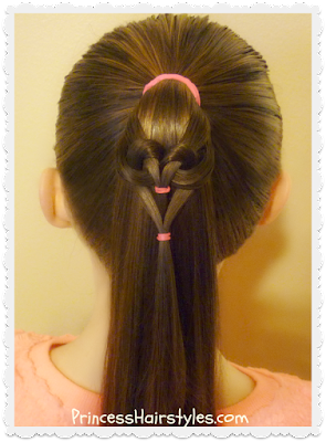 Easy heart hairstyle tutorial.  Hanging heart ponytail video.