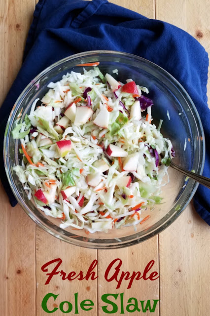 Tasty slaw with a super simple and flavorful dressing and sweet crunchy apples. It makes a fun side dish and yummy salad.