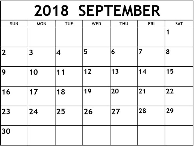 picture about September Printable Calendar titled September 2018 Printable Calendar Templates Totally free