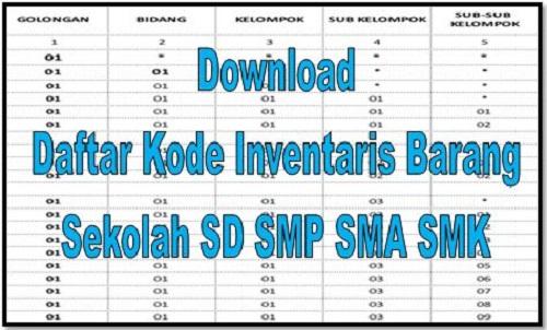 Download Daftar Kode Inventaris Barang Sekolah SD SMP SMA SMK
