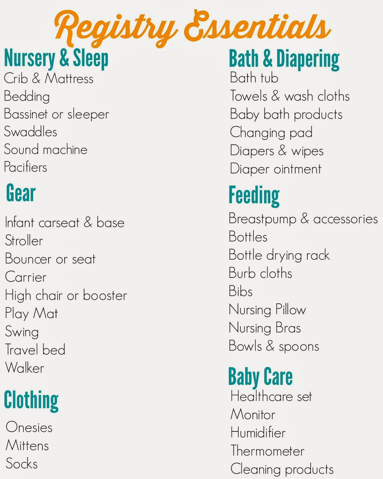 Checklist For Baby Shower Registry: The Chirping Moms: The Ultimate Registry Checklist