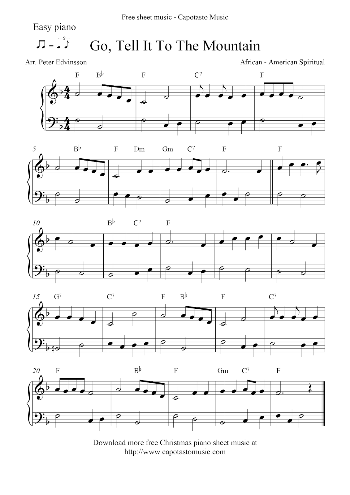 picture about Printable Christmas Sheet Music called Uncomplicated free of charge Xmas piano sheet audio notes, Move, Notify It Towards