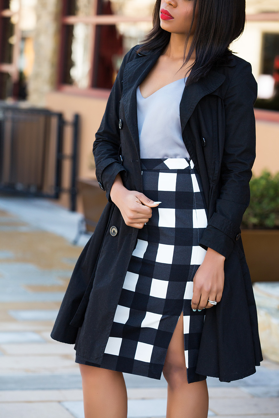 gingham midi pencil skirt, www.jadore-fashion.com