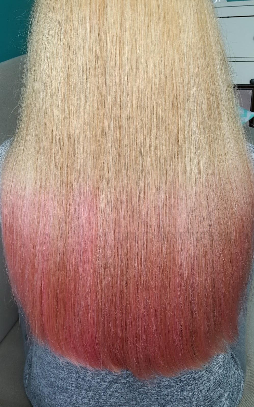 Joanna Color Spray - pastelowy różowy efekt na włosach blond, różowe ombre
