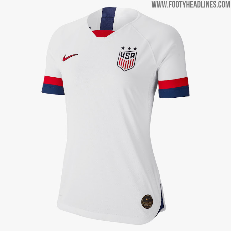 b9b754b8f65 The USA 2019 Women's World Cup kit is predominantly white with bold red and  blue cuffs and the same colors user for trim at the front and back of the  collar ...