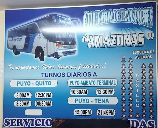 Cooperativa de Transportes Amazonas en la ciudad de Puyo